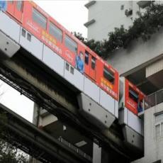 E, tako se to radi: Voz prolazi kroz zgrade, stanica je između 6. i 8. sprata, a BUKA je minimalna
