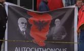 Dron sa posterom Velike Albanije na utakmici u Skoplju