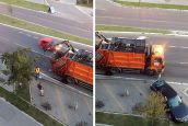 Kamion Čistoće oborio banderu i oštetio automobil