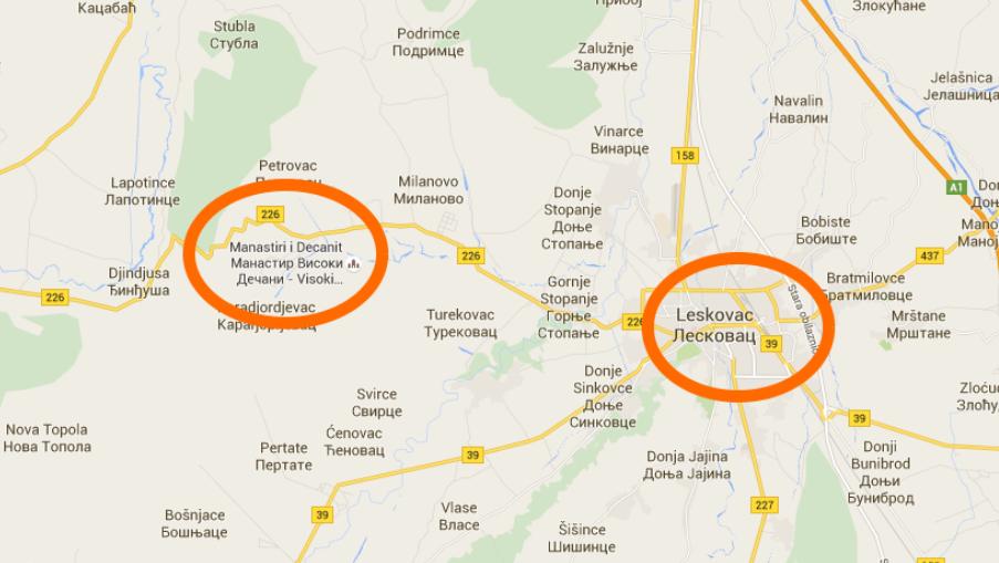 mapa leskovca FOTO: Gugl 'prebacio' Visoke Dečane na nepoznatu, praznu lokaciju mapa leskovca