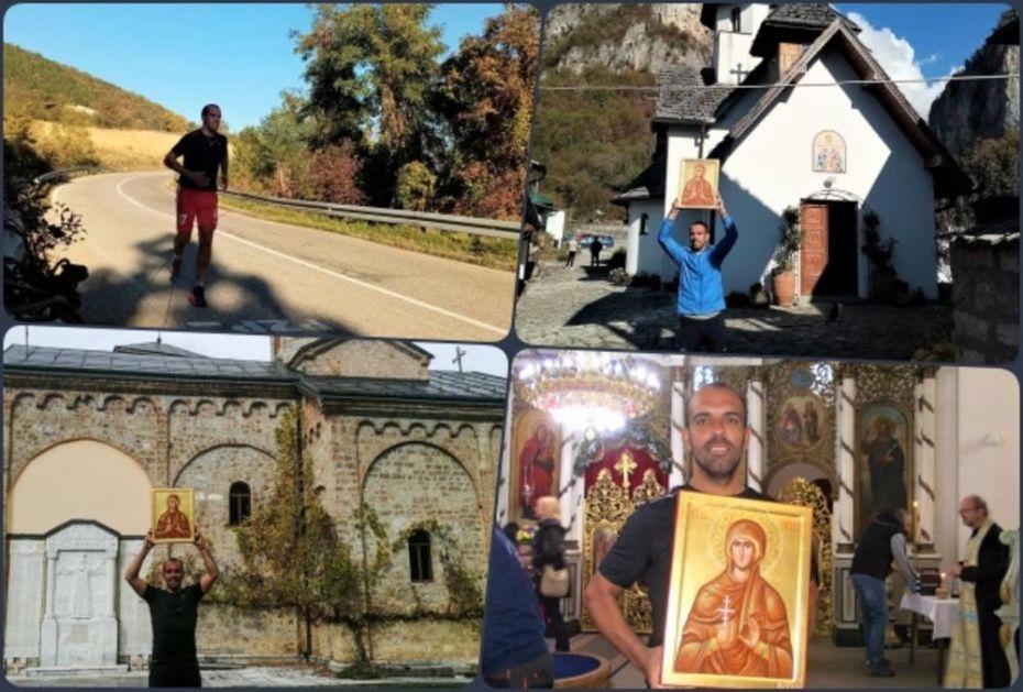 ALEKSANDAR ZAVRŠIO MARATON NA DAN VELIKE SVETITELJKE: Pretrčao 300 kilometara do pet manastira sa ikonom Svete Petke (FOTO)