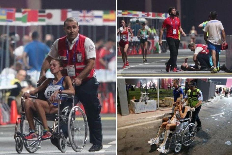 ATLETIČARI PADALI KAO POKOŠENI: Kraljica sportova ovo ne pamti! Takmičare sa staze iznosili na nosilima, u kolicima, na rukama... (FOTO)