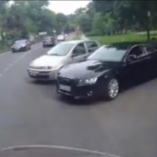BAHATOST NA NIVOU USRED BEOGRADA: Vozača skupocenog automobila milimetar delio da izazove nezgodu! (VIDEO)