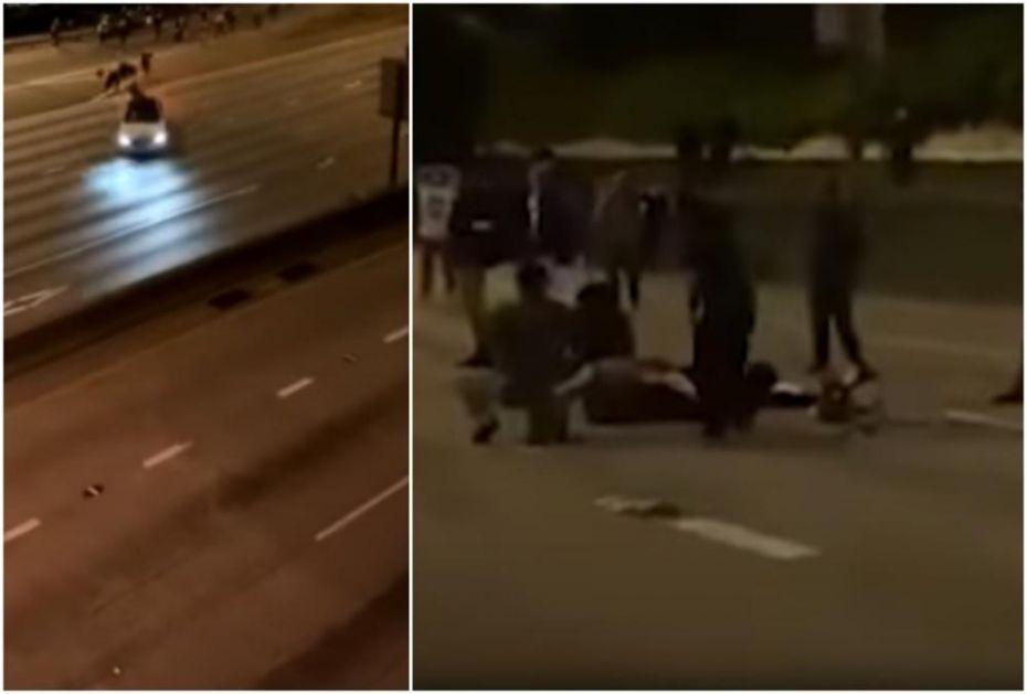 BRUTALNE SCENE IZ SIJETLA: Automobil prošao kroz barikade i pokosio demonstrante na auto-putu (UZNEMIRUJUĆE)