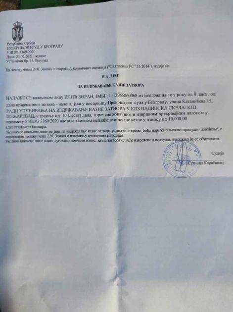 Beogradski ulični svirač dobio 10 dana zatvora jer je svirao