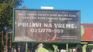 Bilbord u Novom Bečeju poziv za osvešćivanje o femicidu