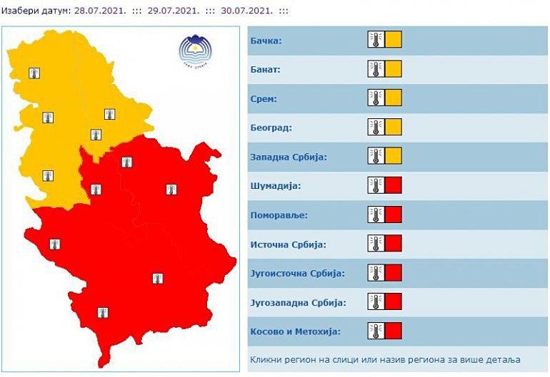 CRVENI METEO ALARM u većem delu Srbije: RHMZ upozorava na veoma toplo vreme