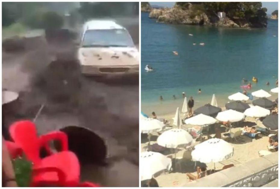 DOK SE DEO GRČKE DAVI U BUJICAMA, TURISTI U PARGI SE SUNČAJU: Jedni jedva spasli živu glavu, drugi uživaju u prelepom grčkom vremenu i suncu (VIDEO)