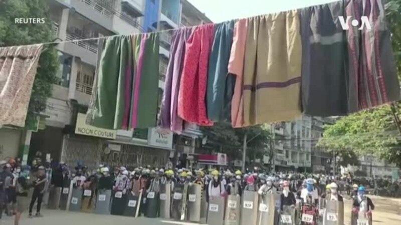 Demonstranti na ulicama Jangona