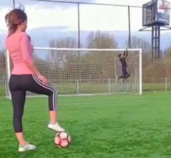 Devojka šutnula loptu, ali nije pogodila šta je htela (VIDEO)