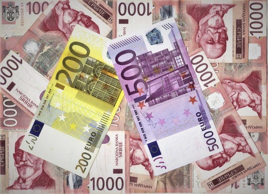 Dinar danas prema evru bez promene, prema dolaru jači
