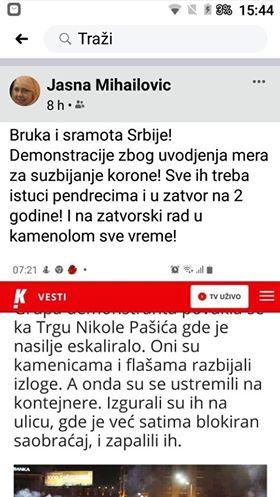 Doktorka iz Novog Sada o demonstrantima: Šmrkom treba rasterati stoku i pendrecima dobro istući