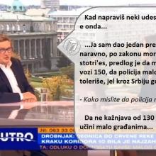 Drobnjak: Predlog je da moze da se vozi 150, da policija malo tolerise...