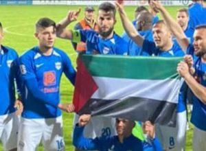 Fudbaleri Novog Pazara proslavili pobjedu noseći palestinsku zastavu