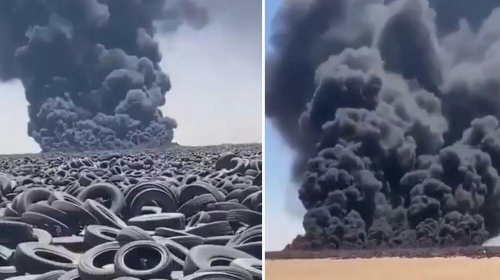 GORI NAJVEĆE GROBLJE GUMA NA SVETU Viralni snimci požara i crnog dima zapalili društvene mreže VIDEO