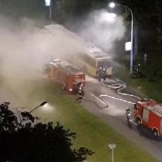 IZGOREO DUPLI AUTOBUS GSP: Veliki plamen progutao vozilo na Novom Beogradu (FOTO/VIDEO)