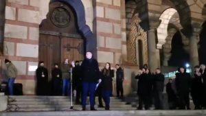 Ispred Crkve Svetog Marka skup podrške vernicima SPC u Crnoj Gori