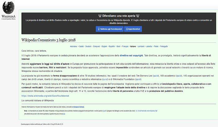 Italijanska Vikipedija protestuje protiv evropskog zakona o zaštiti autorskih prava
