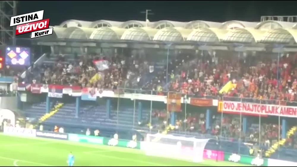 KOSOVO JE SRBIJA, CEO STADION GRMEO: Navijači Orlova i Sokolova zajedno navijali, TRESLA SE GORICA (KURIR TV)