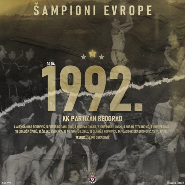 Košarkaši Partizana pre 29 godina postali prvaci Evrope
