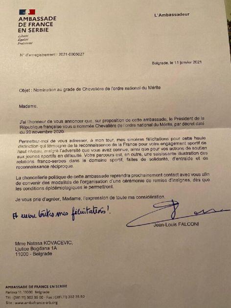 Košarkašici Nataši Kovačević Francuska dodelila orden Legije časti!