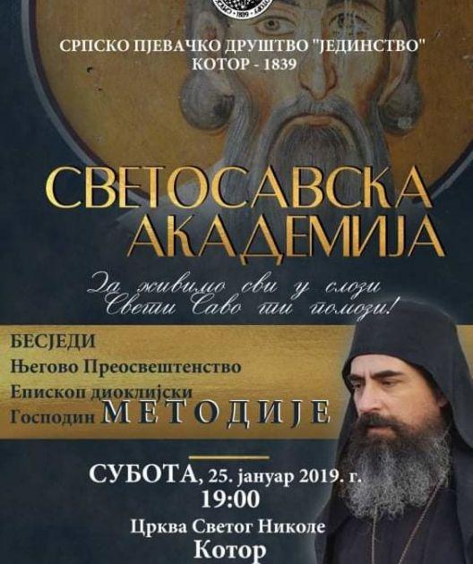 Kotor: Svetosavska akademija; besjedi vladika Metodije