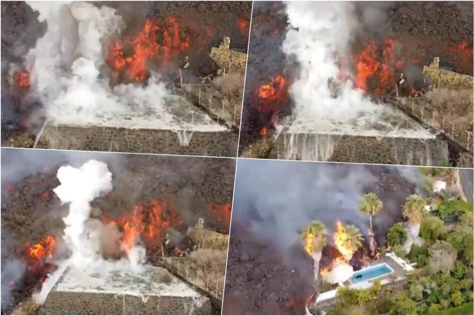 LAVA NA KANARSKIM OSTRVIMA NEMA MILOSTI: Evo kako je prošao bazen jednog stanovnika koji je evakuisan! VIDEO