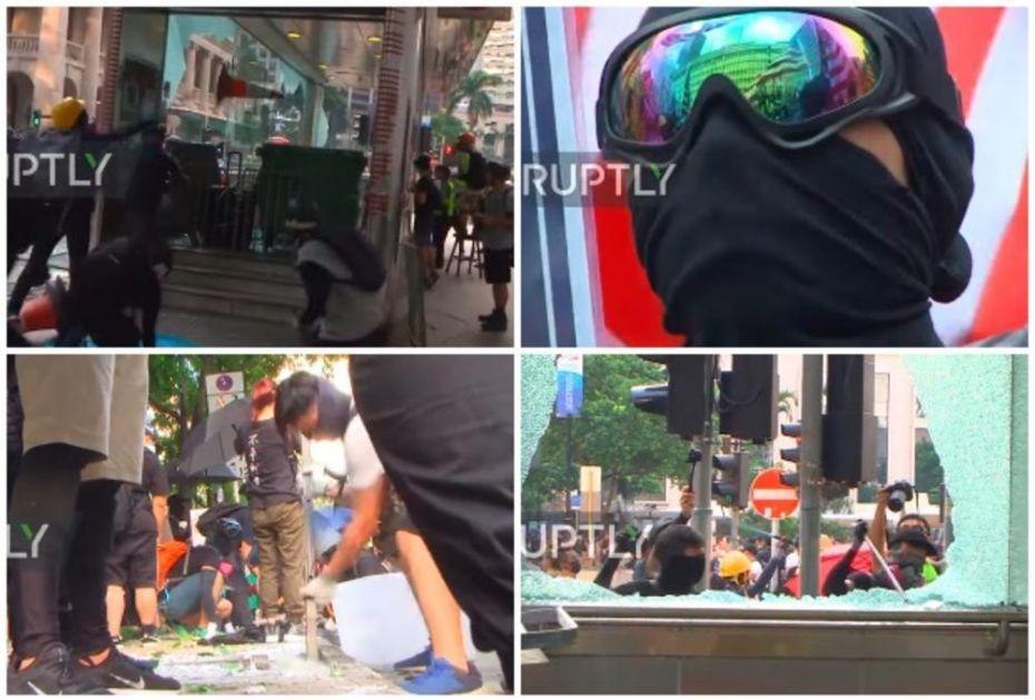 MASKIRANI DEMONSTRANTI IZ HONGKONGA POKAZALI PRAVO LICE! Sila je jedna od naših metoda! Uništavamo, palimo i lomimo, ali to nije nasilje! (VIDEO)