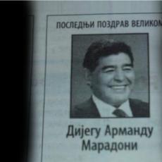 MNOGO TOGA NAS JE SPAJALO... Čitulja za Maradonu osvanula u srpskim novinama