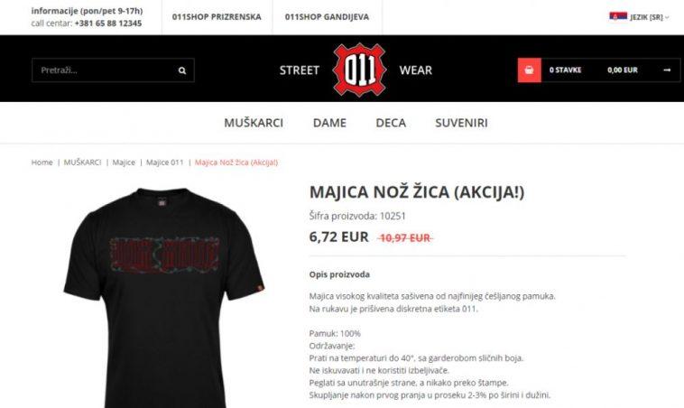 """Ministarstvo trgovine: Zabranjena prodaja i oglašavanje garderobe s natpisom """"Nož, žica"""""""