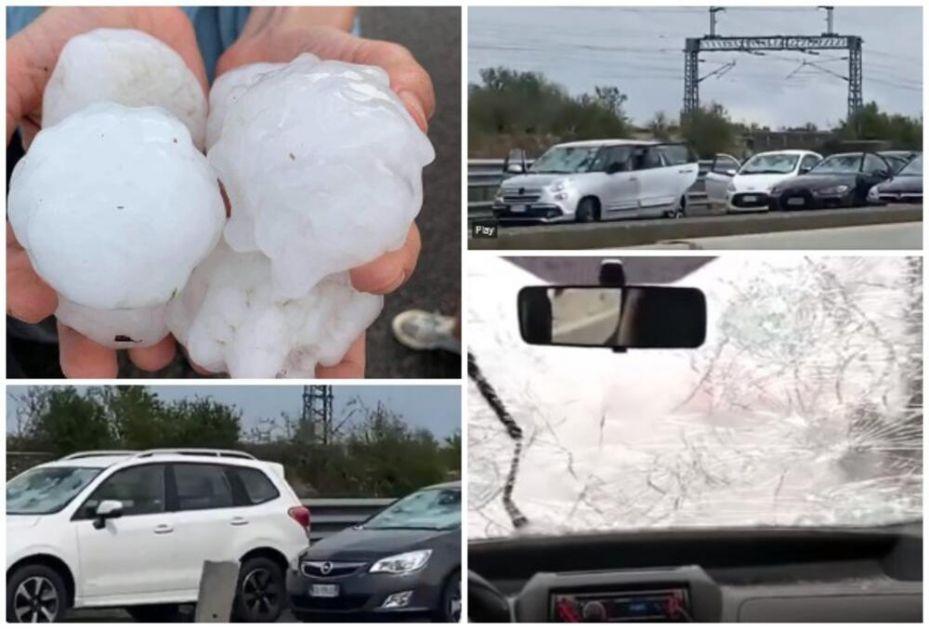 NEZAPAMĆENI LED RAZBIO STOTINE AUTOMOBILA NASRED AUTO-PUTA: Dok Sardinija gori, sever Italije pogodila jaka oluja! VIDEO