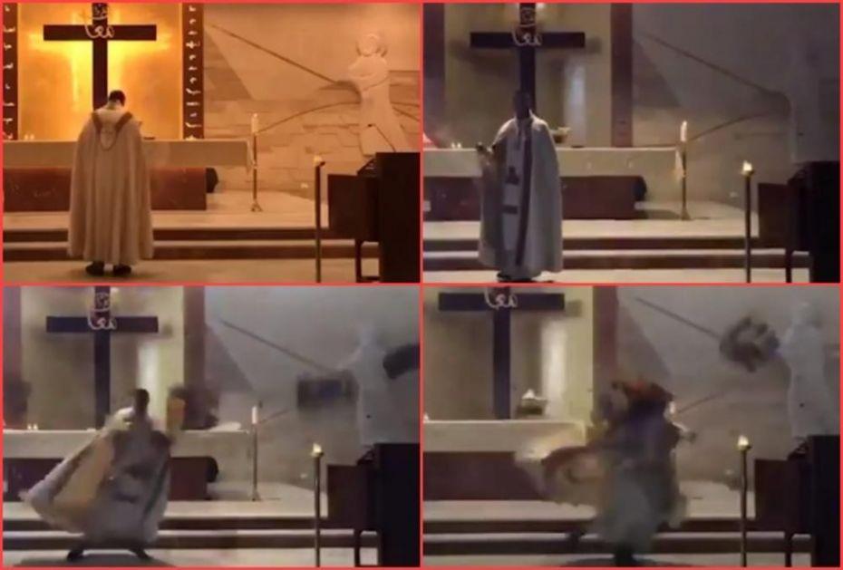 NOVI SNIMAK UŽASA IZ BEJRUTA: Eksplozija udarila crkvu tokom mise, sveštenik jedva izbegao smrt (VIDEO)