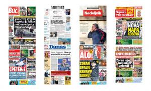 Naslovne strane dnevnih listova: Prelistavanje štampe za 15. februar 2018. godine!