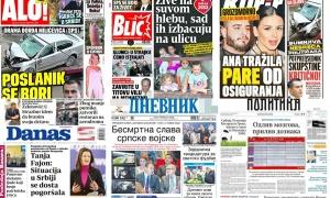 Naslovne strane dnevnih listova: Prelistavanje štampe za 3. novembar 2018. godine