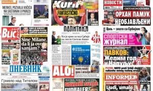 Naslovne strane dnevnih listova: Prelistavanje štampe za 8. novembar 2018. godine