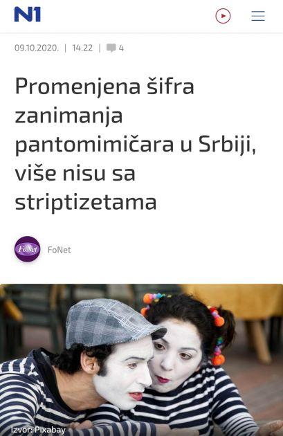 #NijeNjuz: Pantomimičari nisu više pod istom šifrom delatnosti kao striptizete
