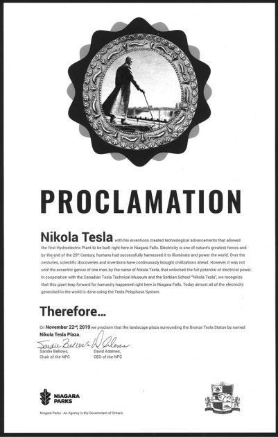 Nikola Tesla dobio trg u Nijagari