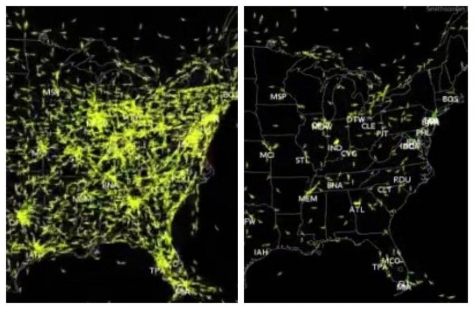 OVAKO SE ZATVORILO NEBO NAD AMERIKOM: Sve je stalo! Teroristički napad 11. septembra prizemljio hiljade aviona, a na mapi to izgleda jezivo! (VIDEO)