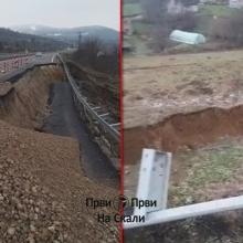 Obrusio se deo puta Kragujevac-Batocina (VIDEO)