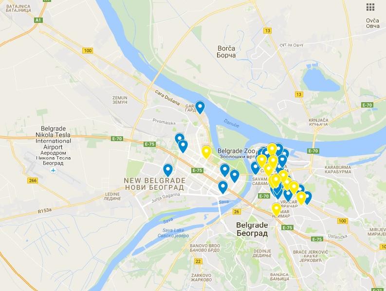 mapa beograda batajnica Ovo su svi nepušački kafići u Beogradu na jednom mestu (MAPA  mapa beograda batajnica
