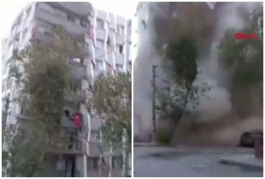 PALA ZGRADA KAO DA JE OD KARTONA: Jezivi snimak pokazuje svi jačinu zemljotresa koji je pogodio Tursku i Grčku! (VIDEO)
