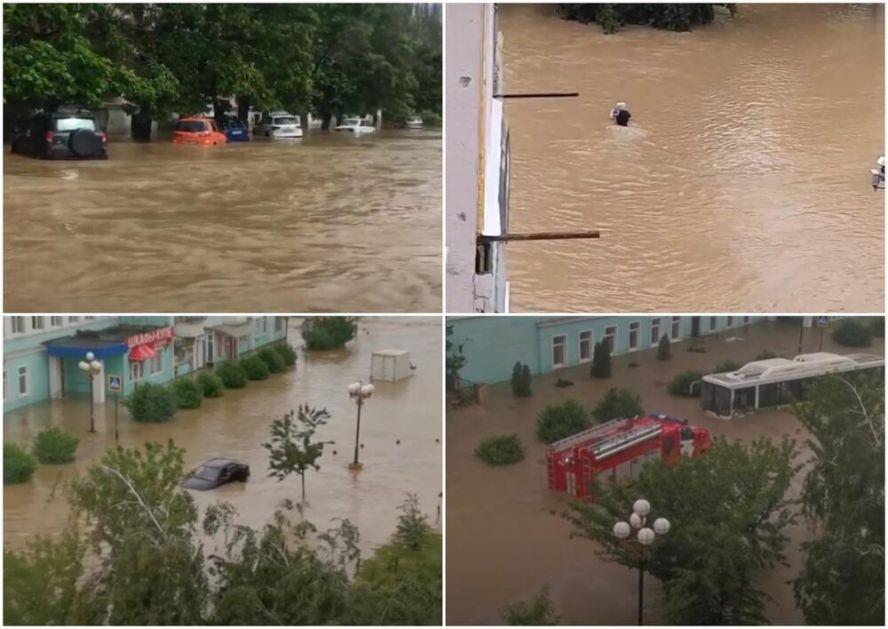 POTOP NA KRIMU: Z 6 sati palo kiše koliko za mesec dana! Bujica nosi automobile, sve je pod vodom! Poslata i Crnomorksa flota