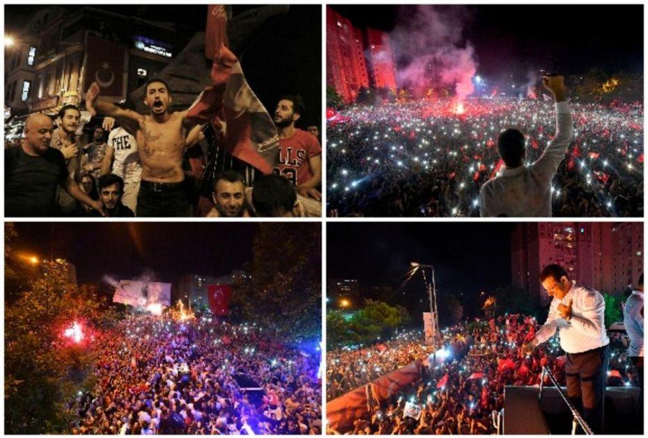 PRAVA SLIKA ERDOGANOVOG PORAZA: Pogledajte slavlje opozicije posle pobede Ekrema Imamoglua na izborima za gradonačelnika Istanbula (FOTO)