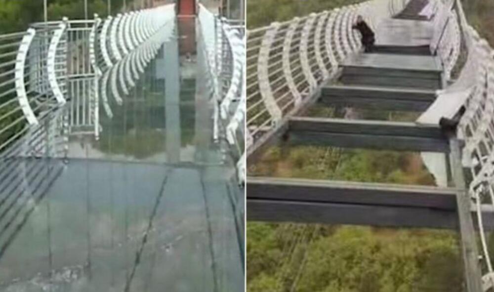 PRESELO MU RAZGLEDANJE: Zbog vetra, turista ostao zaglavljen na visećem mostu od stakla