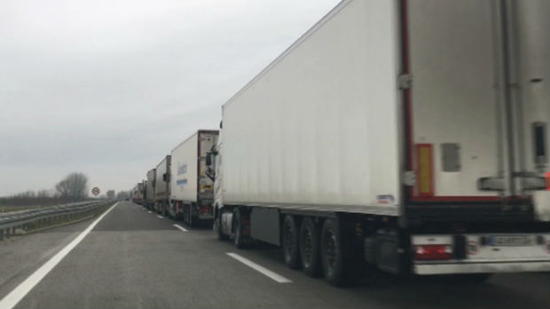 Poranile gužve na Horgošu, kolona kamiona duga preko deset kilometara