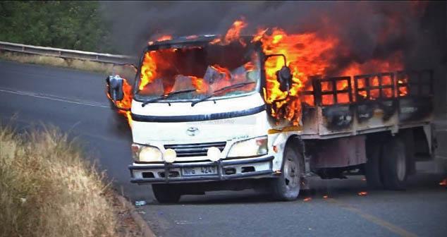 Posle pljačke novca razbojnici zapalili kamion i pobegli
