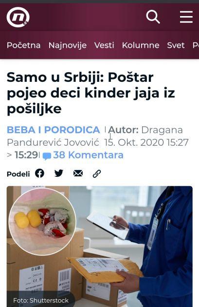 #NijeNjuz: Poštar pojeo deci kinder jaja iz pošiljke