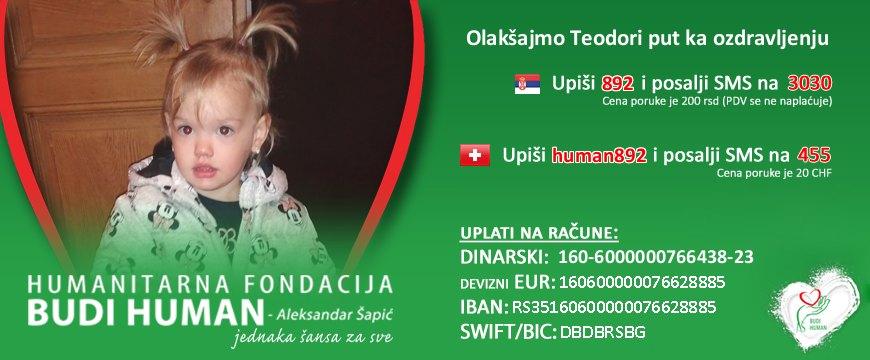 Potrebna novčana pomoć za lečenje devojčice Teodore Neuročni iz Crvenke