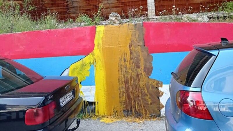 Prefarban mural Ratka Mladića u Foči