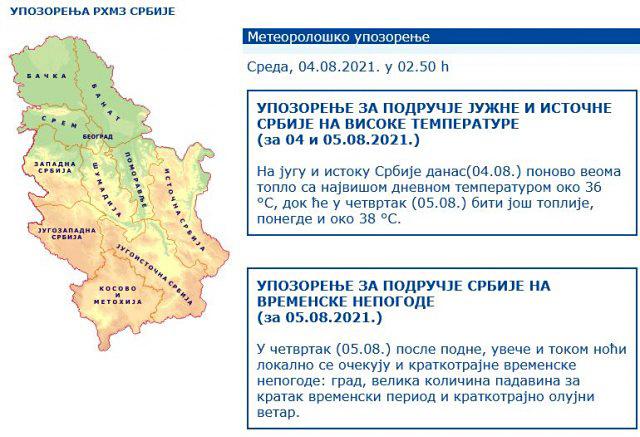 RHMZ izdao dva upozorenja: VRELINA, pa NEPOGODE